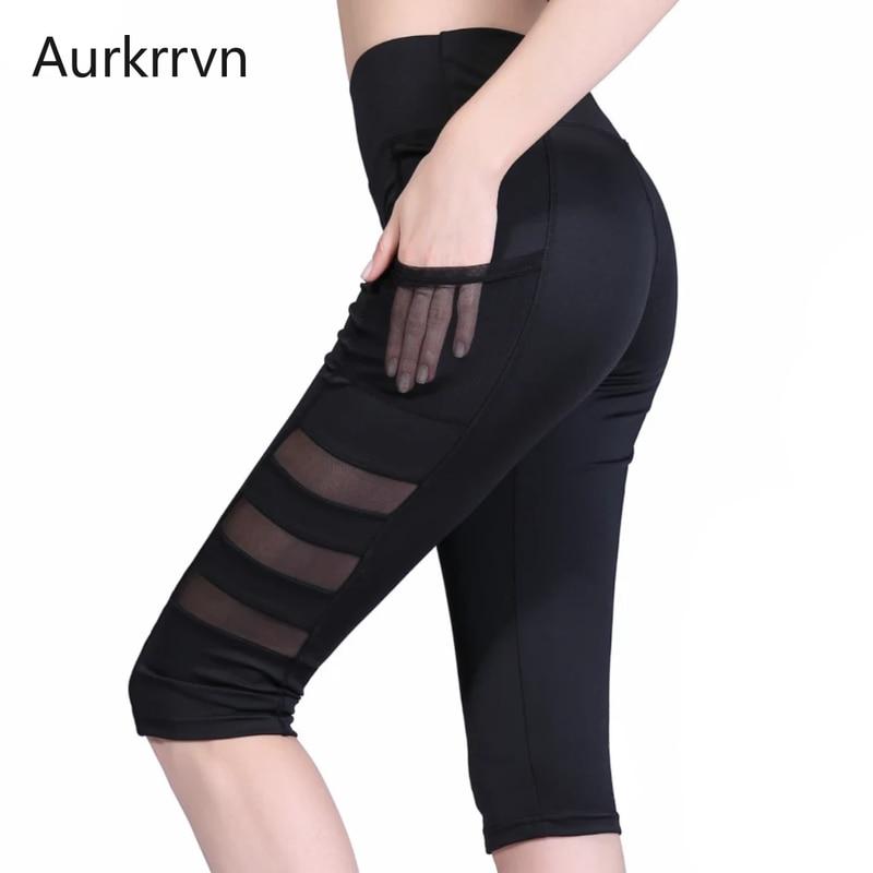 Aurkrrvn Women's Summer Breech Black Mesh Pocket Sport Capris Woman High Waist Jogger Fitness Midi Pants Calf Length Lady Breech