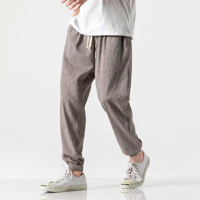 2020 Summer Men's Cotton Linen Pants Casual Loose Harem Pants Men's Jogging Fltness Pants Traditional Harajuku Summer Clothes