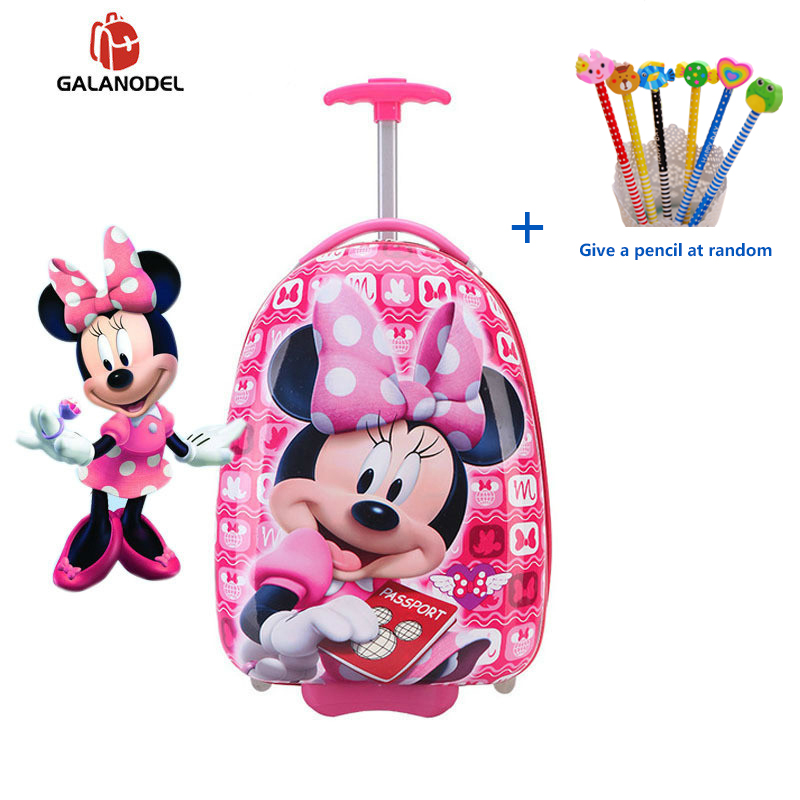 New Girl 16 Inch Cartoon Children's Rolling Suitcase Children's Suitcase Boy Princess Mickey ABS Trolley Case Boarding Box