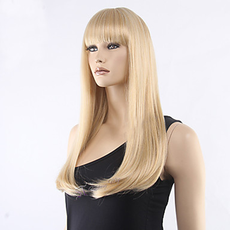 Image 3 - HAIRJOY  Women Synthetic Hair Neat Bangs Long Straight Heat Resistant Fiber Wigs 8 Colors  AvailableSynthetic None-Lace  Wigs   -