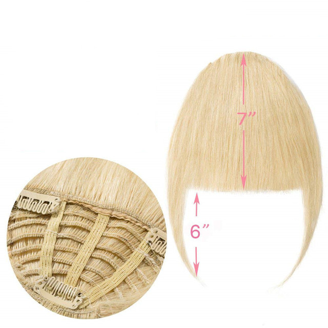 Halo Lady Beauty Blonde Human Hair Bangs Clip In Hair Extension Brazilian Non-Remy Fringe Hair Blunt Cut Blond Neat Bangs
