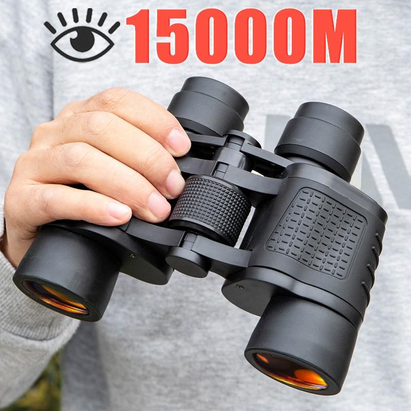 Бинокль 80X80, дальность 15000 м, HD, телескоп высокой мощности, оптический стеклянный объектив с низсветильник щением, ночное видение, для охоты, ...