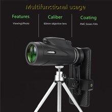 50*60 poderoso telescópio monocular visão noturna telescópio bolso com suporte de smartphone adequado para caminhadas acampamento turismo