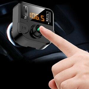 Image 4 - Cargador de manos libres transmisor Fm con bluetooth para coche, reproductor de Audio, música, MP3, bluetooth 5,0, USB dual, accesorios para coche