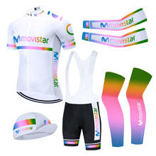 5PCS TEAM 2021 MOVISTAR Cycling Clothing Sets Bike Jersey Suit Ropa Ciclismo Men Pro Bicycling Jersey Maillot Sleeve Warmers