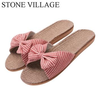 2020 nuevo Eva lazo con rayas Zapatillas de casa de algodón zapatos de interior estilo japonés zapatillas de lino zapatillas mujer Chanclas Zapatos mujeres