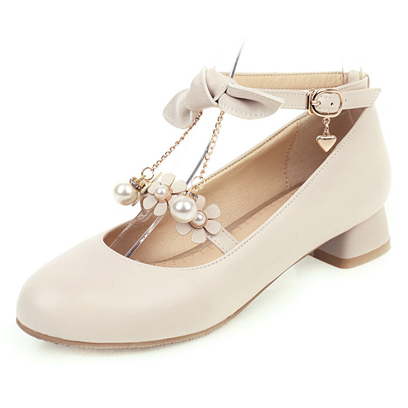 Meotina High Heels Women Pumps Sweet Flower Square Heels Ankle Strap Shoes Bow Buckle Round Toe Shoes Lady 2020 Plus Size 33-43