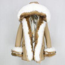 OFTBUY 2020 Donne del Rivestimento di Inverno Vero Cappotto di Pelliccia di Spessore Caldo Naturale Collo di Pelliccia Volpe Cappuccio Parka Outwear Fodera in Pelo di Coniglio streetwear