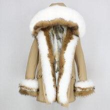 OFTBUY 2020 겨울 자켓 여성 리얼 모피 코트 두꺼운 따뜻한 천연 여우 모피 칼라 후드 파카 아웃웨어 토끼 모피 라이너 Streetwear