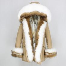 Oftbuy 2020 jaqueta de inverno feminino casaco de pele real grosso quente natural gola de pele de raposa capa parka outwear pele de coelho forro streetwear