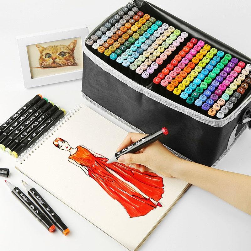 Art-Markers-Set Art-Supplies Manga Double-Headed Artist Sketch School 168/204-Colors