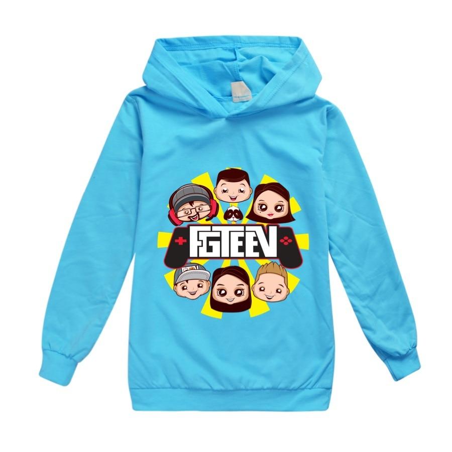 9 colors Clothes Kids Cartoon FGTEEV Boys Girls Hooded Casual Tracksuit Cotton Full Chidren T Shirt Unisex Sport Clothing+sunhat 3