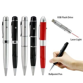 Hot Ballpoint Pen Model Laser Light Usb Flash Pen Drive Memory Stick Pendrive 4GB 8GB 16GB 32GB 64GB Business Gift USB Driver