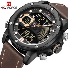 NAVIFORCE Mens Watches Top Luxury Brand Men Sports Watches Men's Quartz LED Digital Clock Male Leather Military Wrist Watch mens womens rubber led watch date sports bracelet digital wrist quartz watches men military watch male clock man casual watches