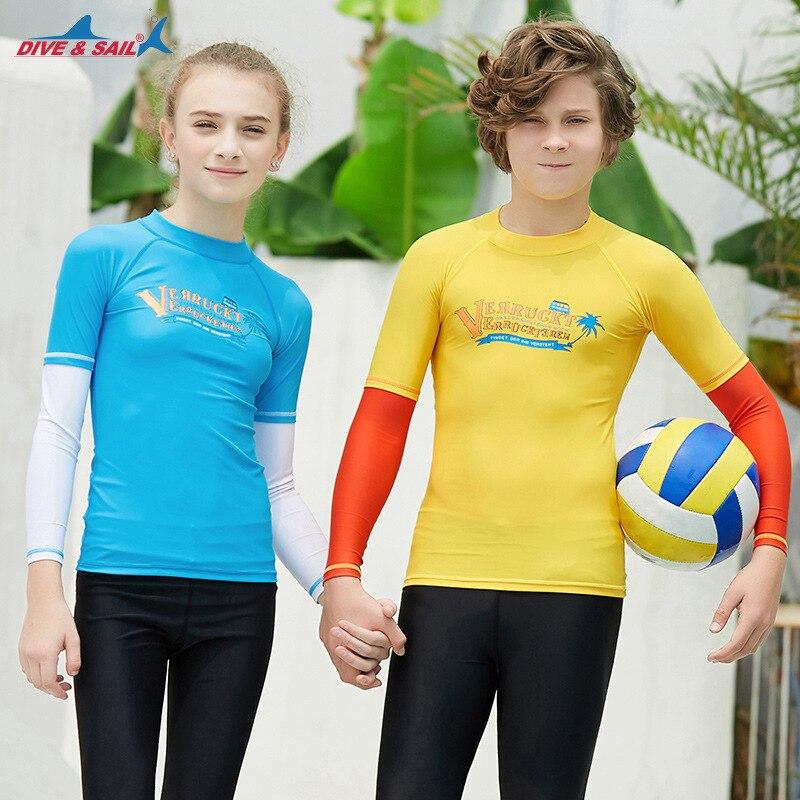 New Style KID'S Swimwear Students Outdoor Sun-resistant Quick-Dry Swimwear Split Type Teenager Long Sleeve Beach Snorkeling Divi