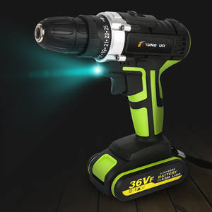 Electric-Drill 2-Batteries LED Waterproof 8000mah 36V 25-Speed