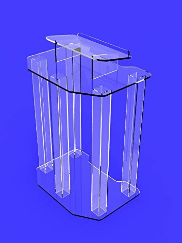 Fixture Displays Podium, Clear Ghost Acrylic Wrap- Around Style Pulpit, Lectern  Fully Assembled  ASSEMBLED
