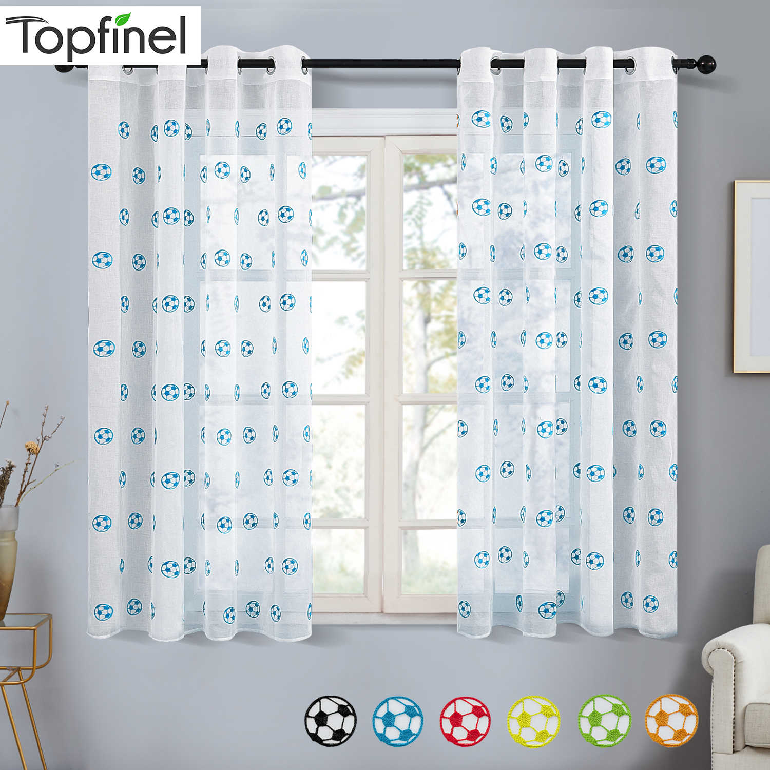 Topfinel Embroidered Short Sheer Curtains For Living Room Bedroom Boys Room Football Pattern Window Treatment Voile Curtains