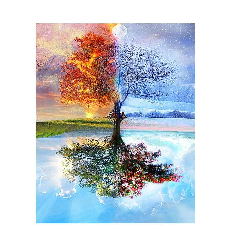 Paisagem imagem por número estações árvore pintura a óleo sobre tela quadro diy kits de artesanato para adultos desenho a cores casa arte decortiva