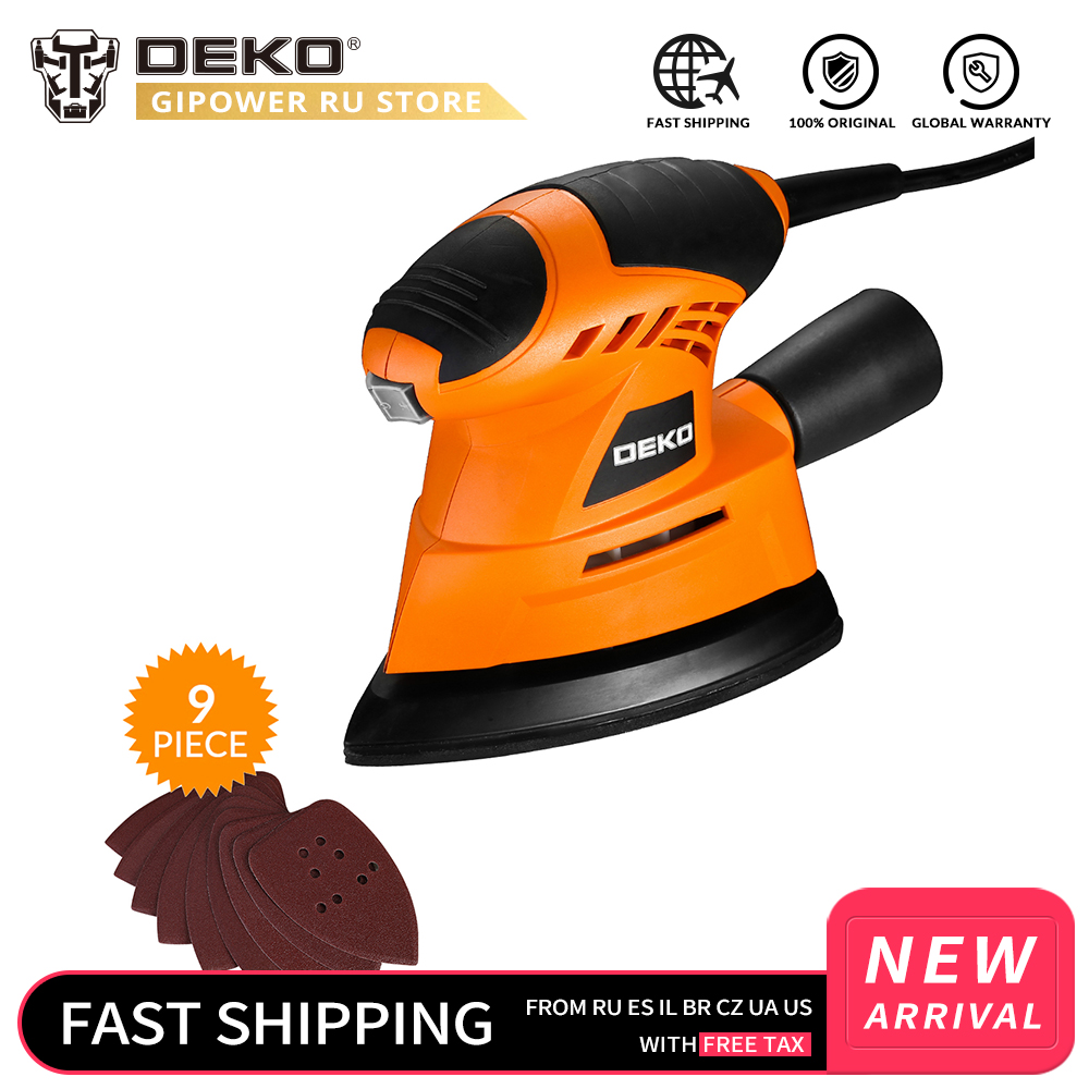 DEKO 2019 NEW Mouse Sander  Dust exhaust Mouse Sander for Wood Working Home DIY  Easy to Use with 9 Sheets of sandpaper-in Sanders from Tools