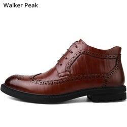 Botas de couro genuíno dos homens botas de tornozelo de inverno calçados de moda rendas até brogue vestido sapatos de alta qualidade do vintage sapatos masculinos marca