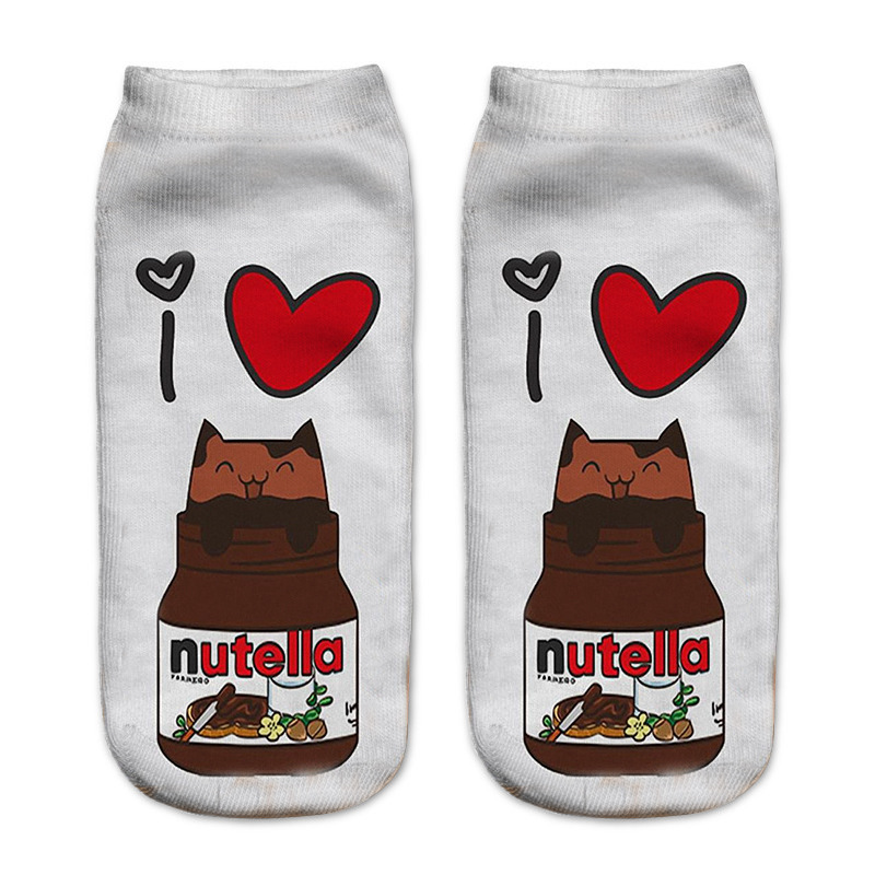 New Food And Fruit Print 3D   Socks   Women Kawaii Ankle Nutella Donut Licorne Femme Girls Cute Emoji Funny   Socks   Happy Calcetines