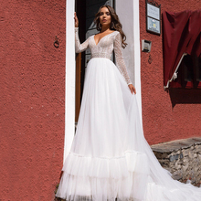 Bohemian White Long Wedding Dress Sexy V Neck Full Sleeves Bridal Gown Formal Bride Engagement Party Robe De Mariage A Line