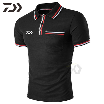 Daiwa Summer T Shirt Men Cotton Short Fishing Shirt Polo Shirts Top Sports Men #8217 s Casual Shirts Men Breathable Fishing Clothing tanie i dobre opinie LANSHITINA Breathable Quick Dry Summer shirt short sleeve t-shirt Daiwa Clothing Fishing clothing fishing clothes men