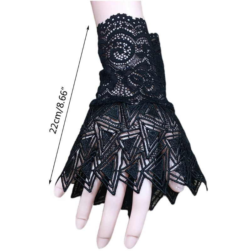 Women Hollow Out Embroidery Triangle Lace Horn Cuff Sunscreen Fake Sleeve Gloves LX9E
