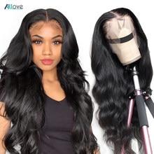 Allove 13x6 hd laço frontal peruca onda do corpo peruca dianteira do laço 30 Polegada fechamento do laço peruca perucas de cabelo humano para mulheres perucas de renda transparente