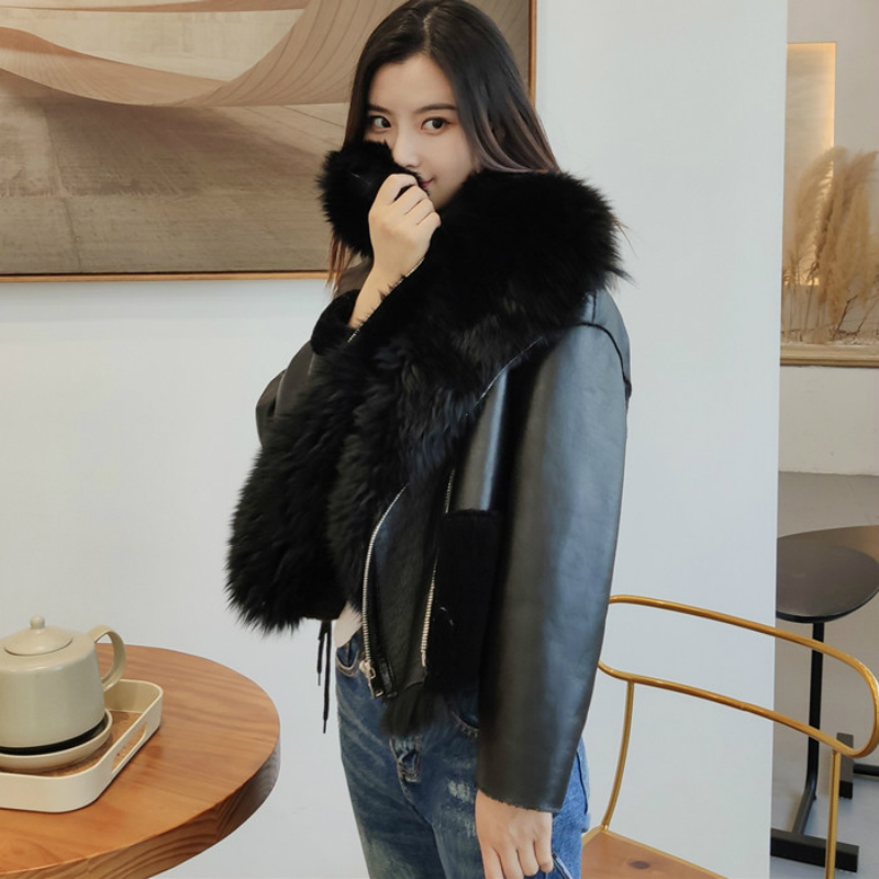 OFTBUY 2019 Double Faced Sheep Fur Natural Real Fur Coat Genuine Leather Winter Jacket Women Warm Loose Outerwear Streetwear New