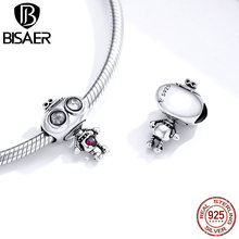 BISAER Robot Love Charms 925 Sterling Silver Shape Fashion DIY Beads Jewelry Accessories Making HSC1524