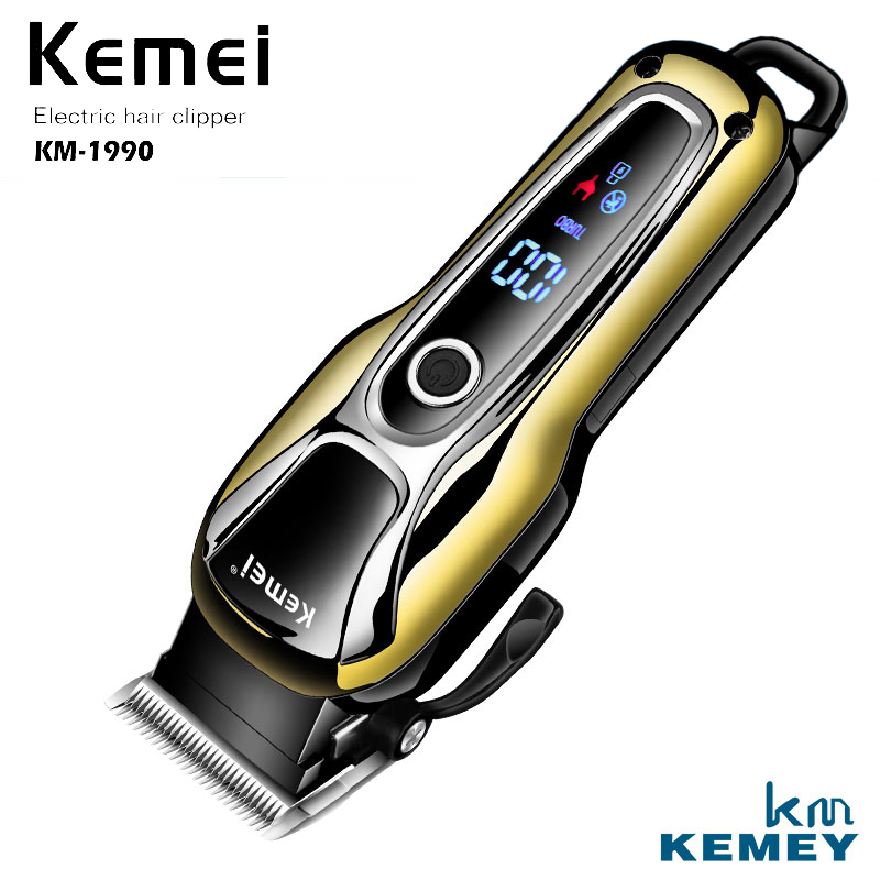 Kemei 100-240V Electric Rechargeable Hair Trimmer Men's Professional Electric Hair Clipper Shaver Razor LCD Screen KM-1990