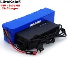 LiitoKala Batería de alta potencia para vehículo eléctrico, 48V, 6ah, 13s3p, 18650, protección BMS de 48v + cargador 2A
