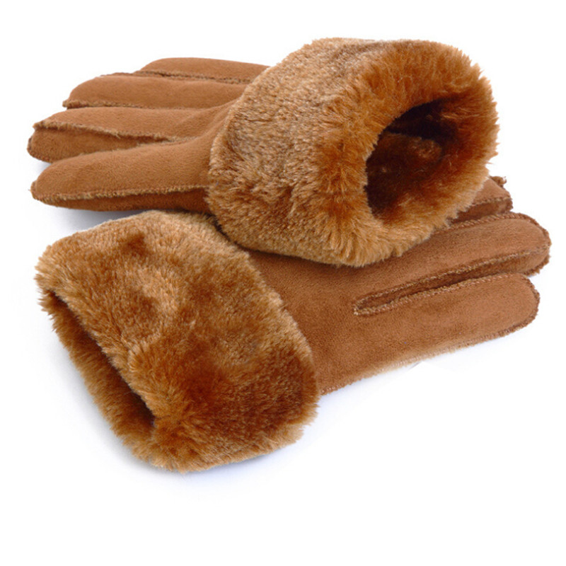 2019 Winter Men Deer Skin Leather Gloves For Men Warm Soft Black Men Mittens Imitate Rabbit Hair Wool Lining Gloves Men Mitten