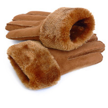 2019 Winter Men Deer Skin Leather Gloves For Men Warm Soft Black Men Mi