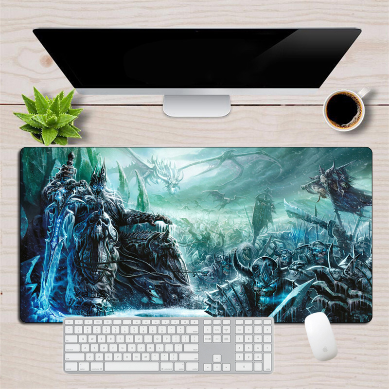 Gaming Mouse Pad World Of Warcraft Large XL Keyboard Pad 60x30cm Big Rubber Durable Locking Edge Lich King Computer Desk Mat