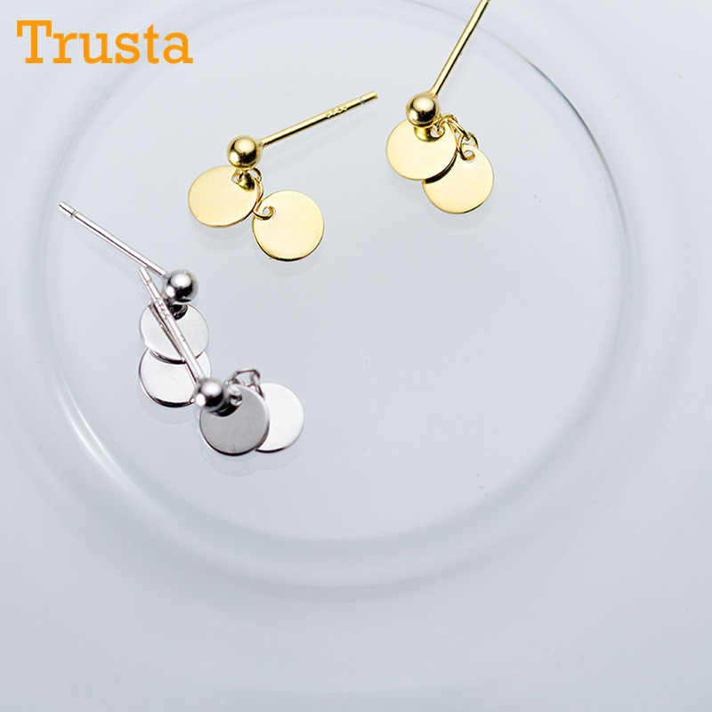 Trusta 100% 925 Solid Real Sterling Silver Women's Jewelry Round Sheet Stud Earrings Gift For Teen Girls Kids Lady Jewelry DS952