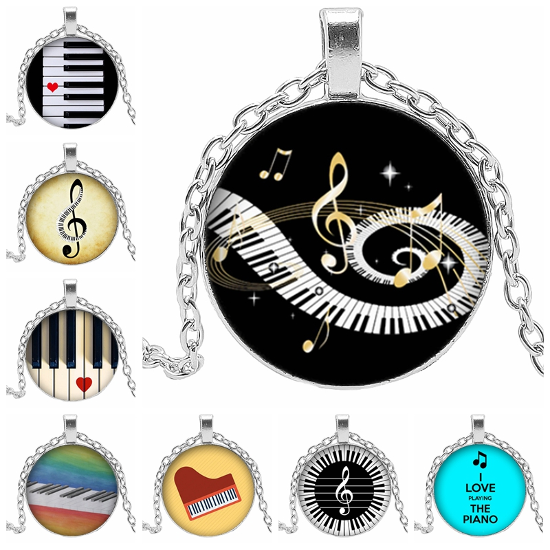 2019 new heart shaped piano ladies necklace love mode round glass convex round piano keyboard glass necklace gift banquet in Pendant Necklaces from Jewelry Accessories