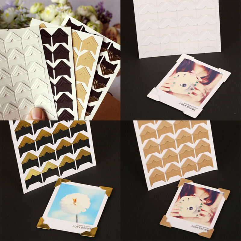 UK STOCK 120pcs Self-adhesive Photo Corner Stickers Gold Silver White Colours