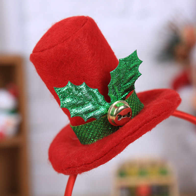 Горячая Рождественская повязка на голову Рождественская шапка Санты вечерние украшения двойная повязка для волос застежка наголовный обруч Рождество Navidad деревянная витрина для часов 925