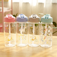 RUIDA Cartoon Unicorn Glass Water Bottle for Kids with Straw Portable Leakproof Outdoor Travel Bottles Cute Girl Drinkware