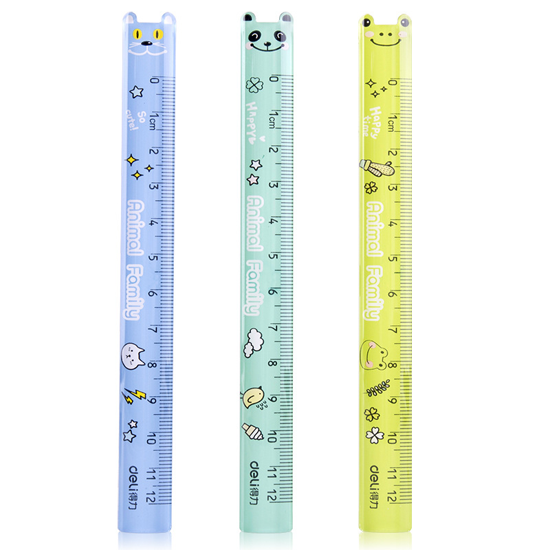 Deli Ruler Young STUDENT'S Cartoon Transparent Ruler 12 Cm Measuring Tools Transparent Color Students Stationery Plastic Ruler