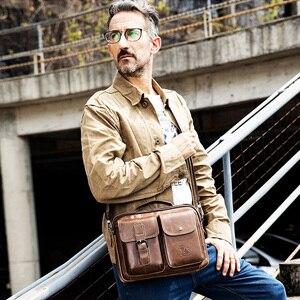 Image 3 - Men Genuine Leather Shoulder Messenger Bag mens Handbag Vintage Crossbody Bag Tote Business Man Messenger Bag