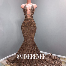 Gold Mermaid Long Prom Dresses 2020 Real Picture Sexy Deep V