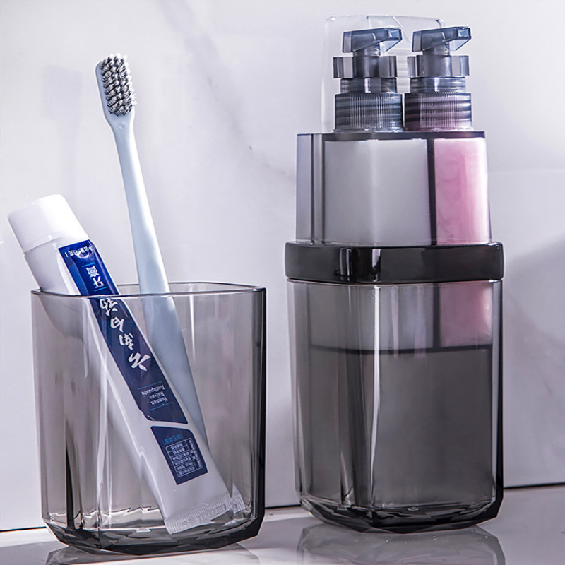 Elegant Toothbrush Toothpaste Holder Organizer Set for Bathroom Storage Box