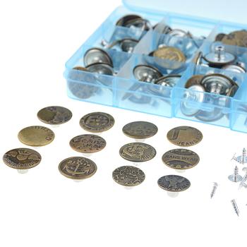 100 sztuk zestaw zapakowane Mix Denim przycisk guzik do dżinsów słowo odliczenia Knock metalowe Denim przycisk Box kolor losowo tanie i dobre opinie Przycisk łączny Przyciski ROUND