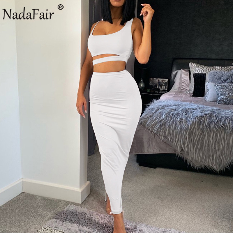 Nadafair Hollow Out Club Black White Women Bandage Sexy Dress Off Shoulder Midi Bodycon Party Summer Dress Women Two Piece Sets