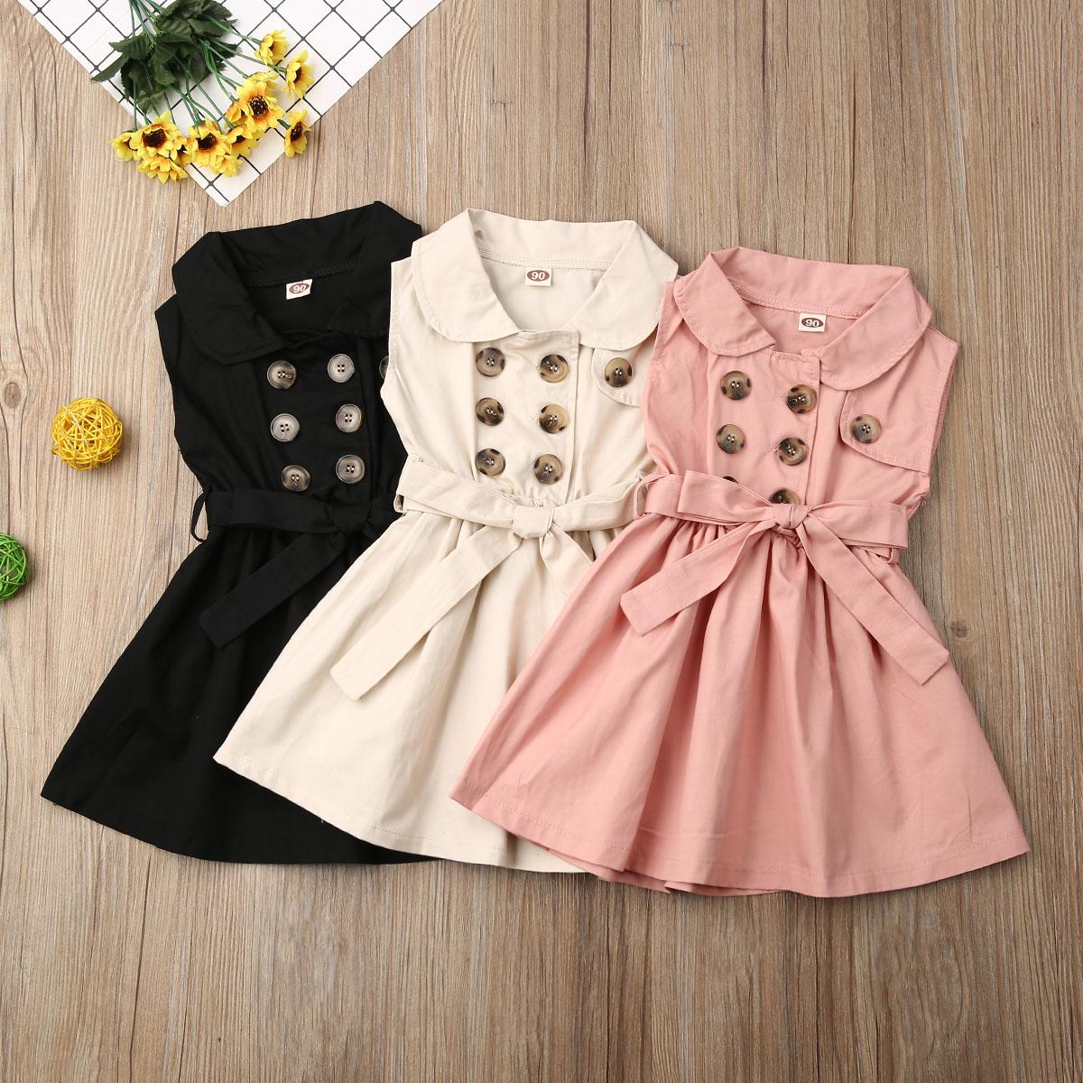 От 1 до 6 лет, модное платье для маленьких девочек новое праздничное платье принцессы без рукавов с пуговицами и бантом на свадьбу