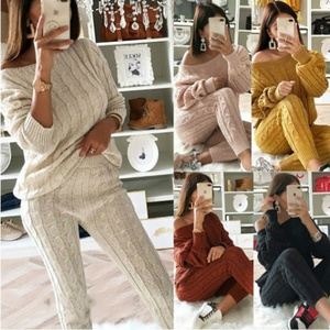 2020 Women's Fashion 2 Piece Set Jogging Suit Casual Knitted Pullover Tracksuit Warm Sweater Long Pants Sweatshirts Outfits